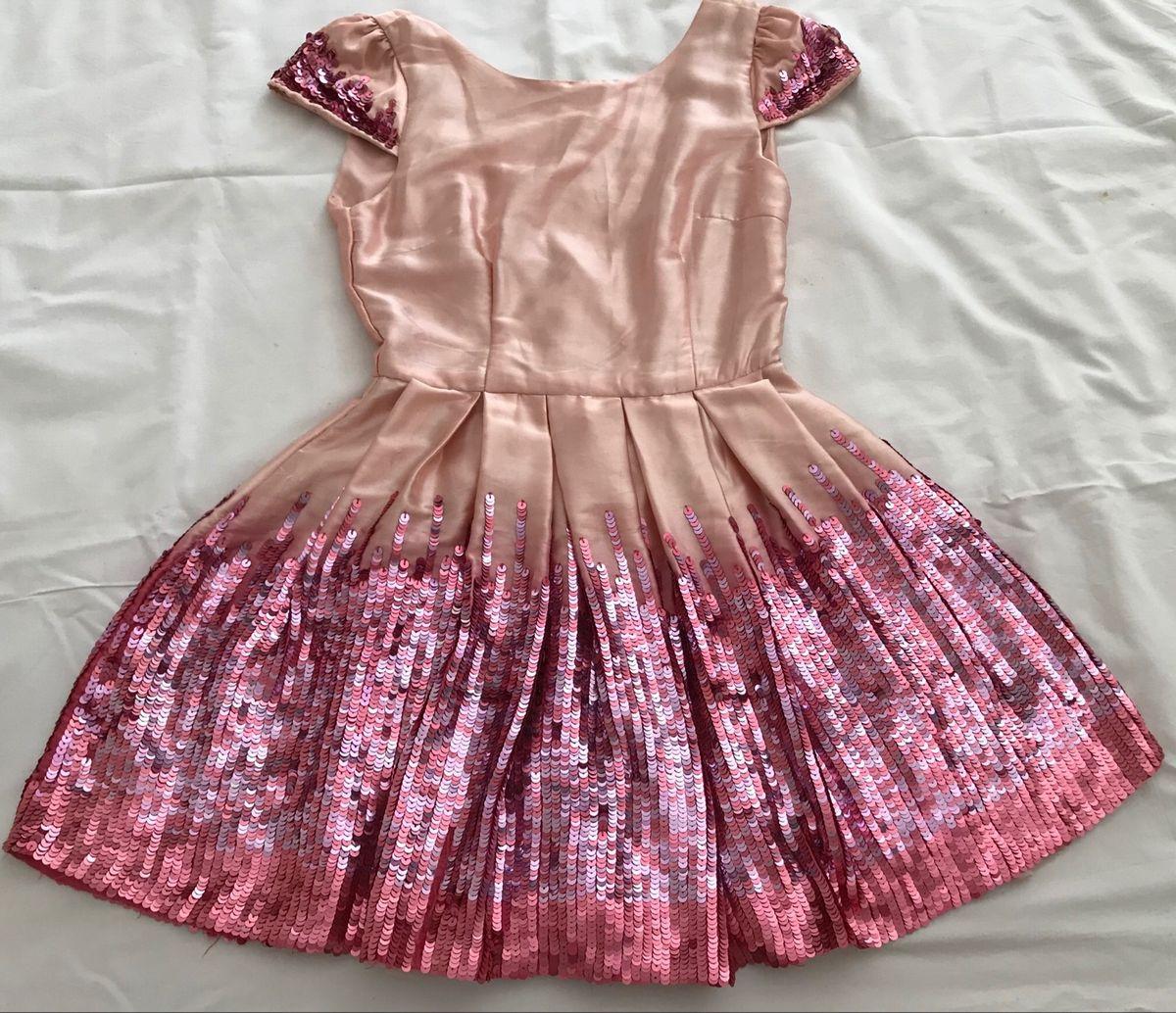 b2fd46e0e Vestido de Festa Rosa Paetês Menina 10 Anos   Roupa Infantil para ...