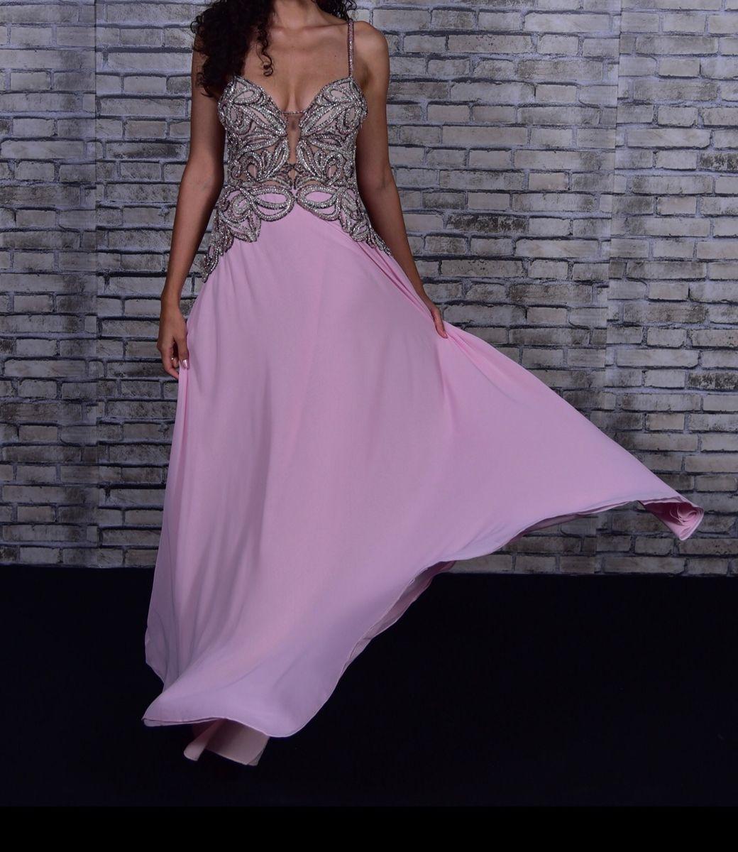vestido de festa thays temponi rosa seda bordado - vestidos de festa thays-temponi