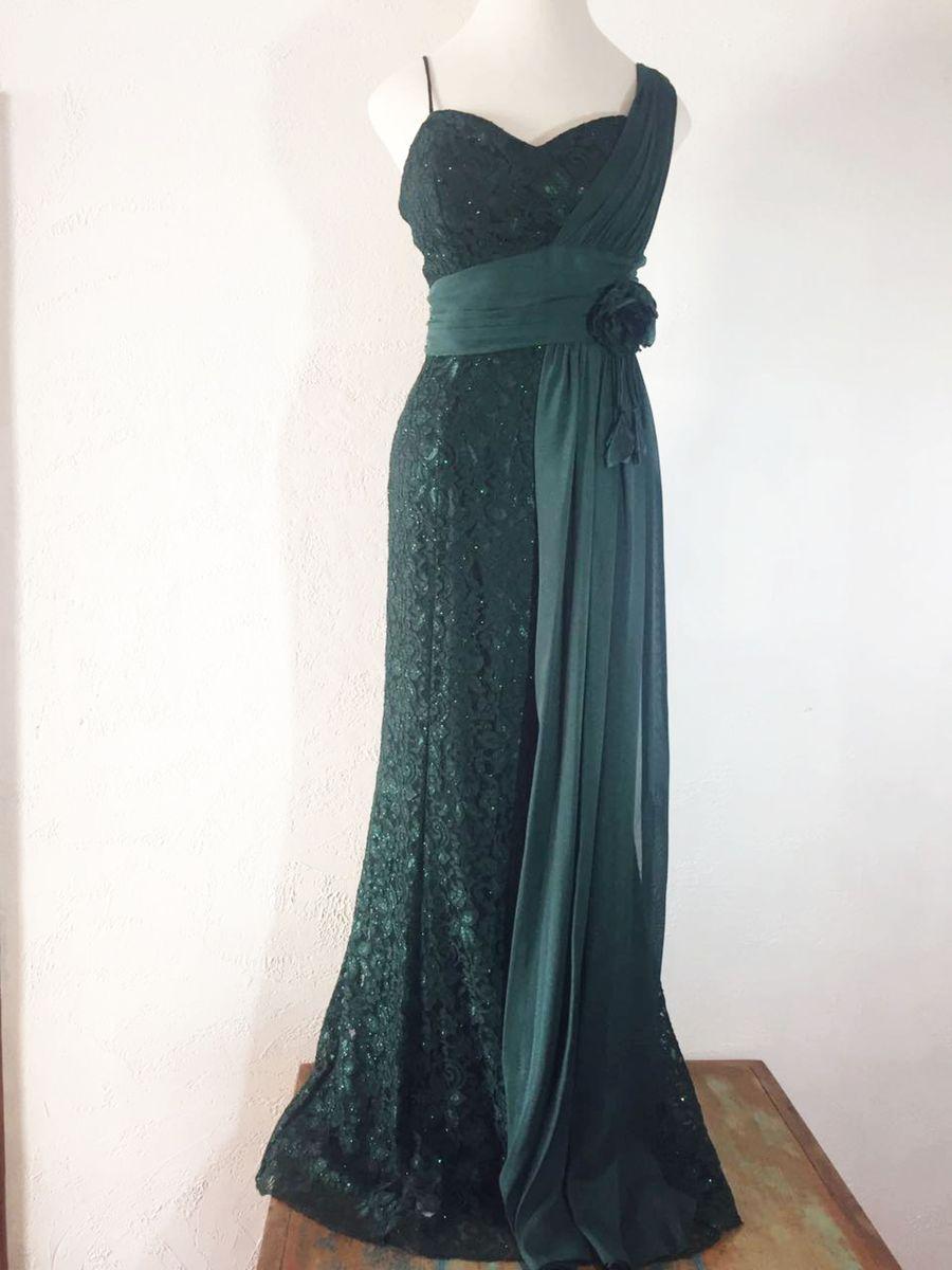 Vestido de festa verde folha
