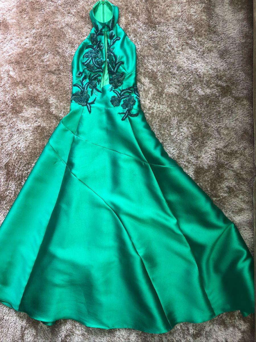 e0ccfb146 Vestido de Longo de Festa Verde Verano   Vestido Feminino M Rodarte ...
