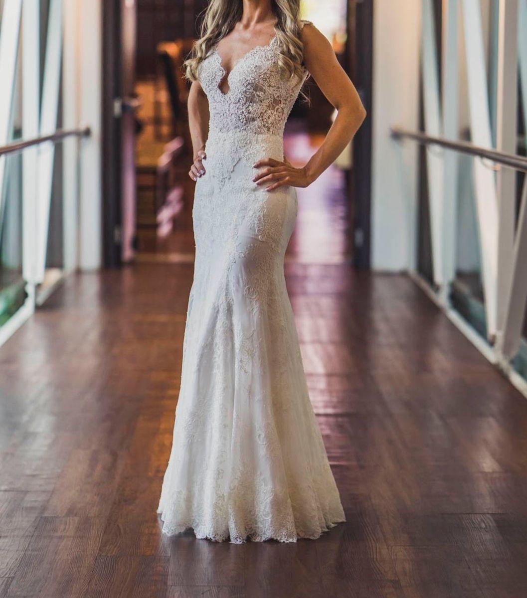 49e189e00 Vestido De Noiva Semi Sereia Em Renda Off White Bordado A Mão