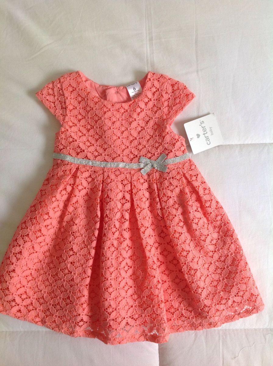 c202a3e04f vestido de princesa de renda salmão - bebê carter s