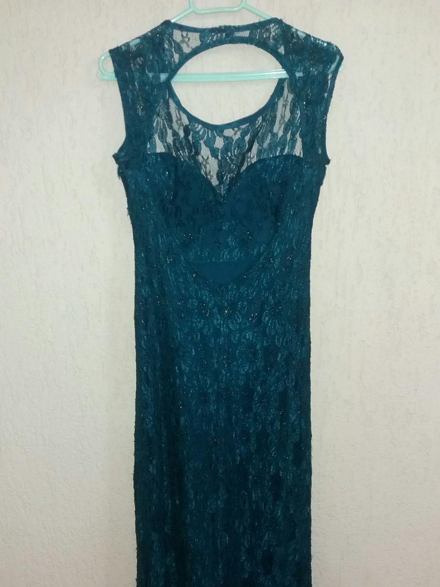 Vestido azul petroleo renda