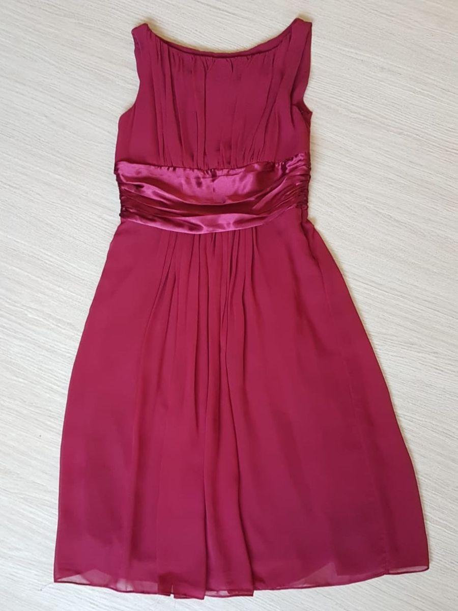 39728e9c6ec Vestido em Crepe Vinho   Vestido de Festa Feminino Usado 30258542 ...