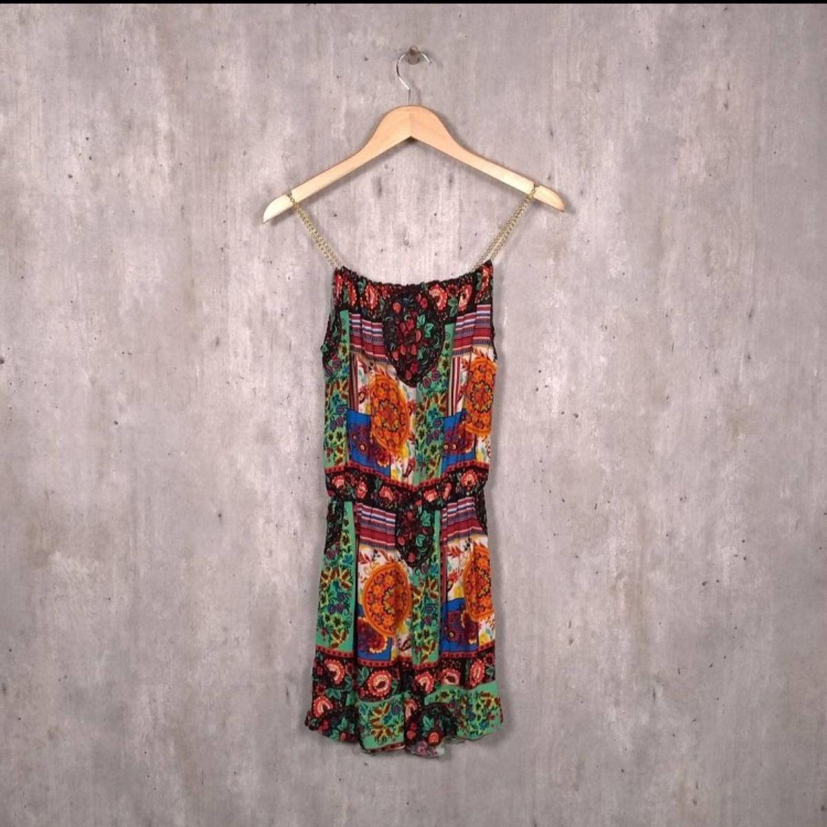 d5e54564ec Vestido Estampado com Alças de Corrente