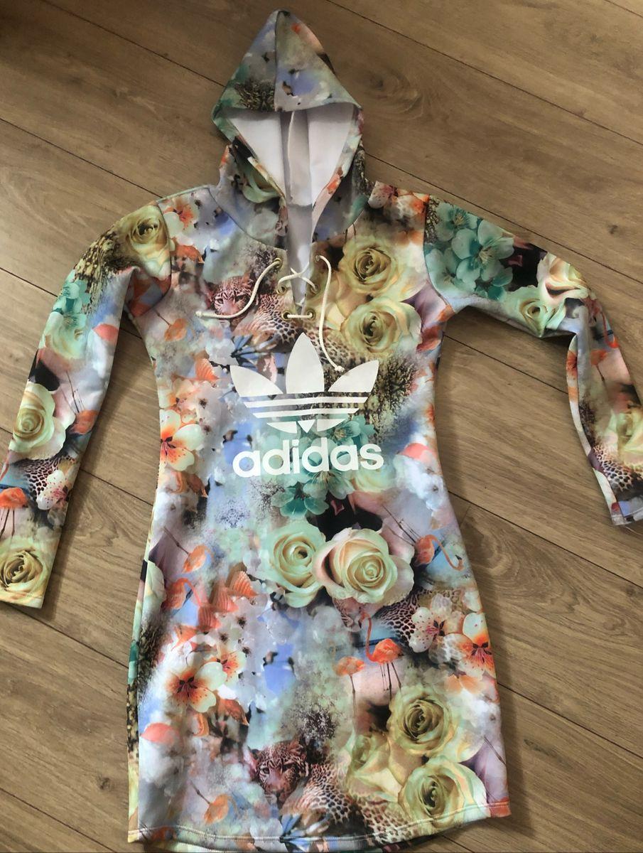 Facilitar Transición Vacante  Vestido Estampado de Manga Longa Adidas | Vestido Feminino Adidas Nunca  Usado 35699812 | enjoei