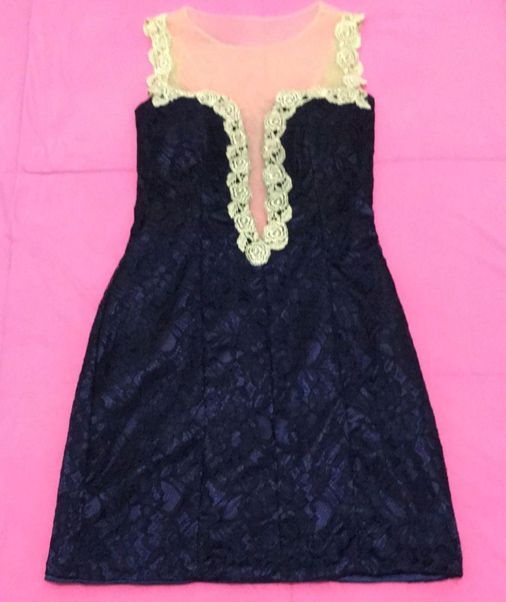 adef72ea05 vestido festa azul marinho com tule ilusion!! - vestidos de festa lunass