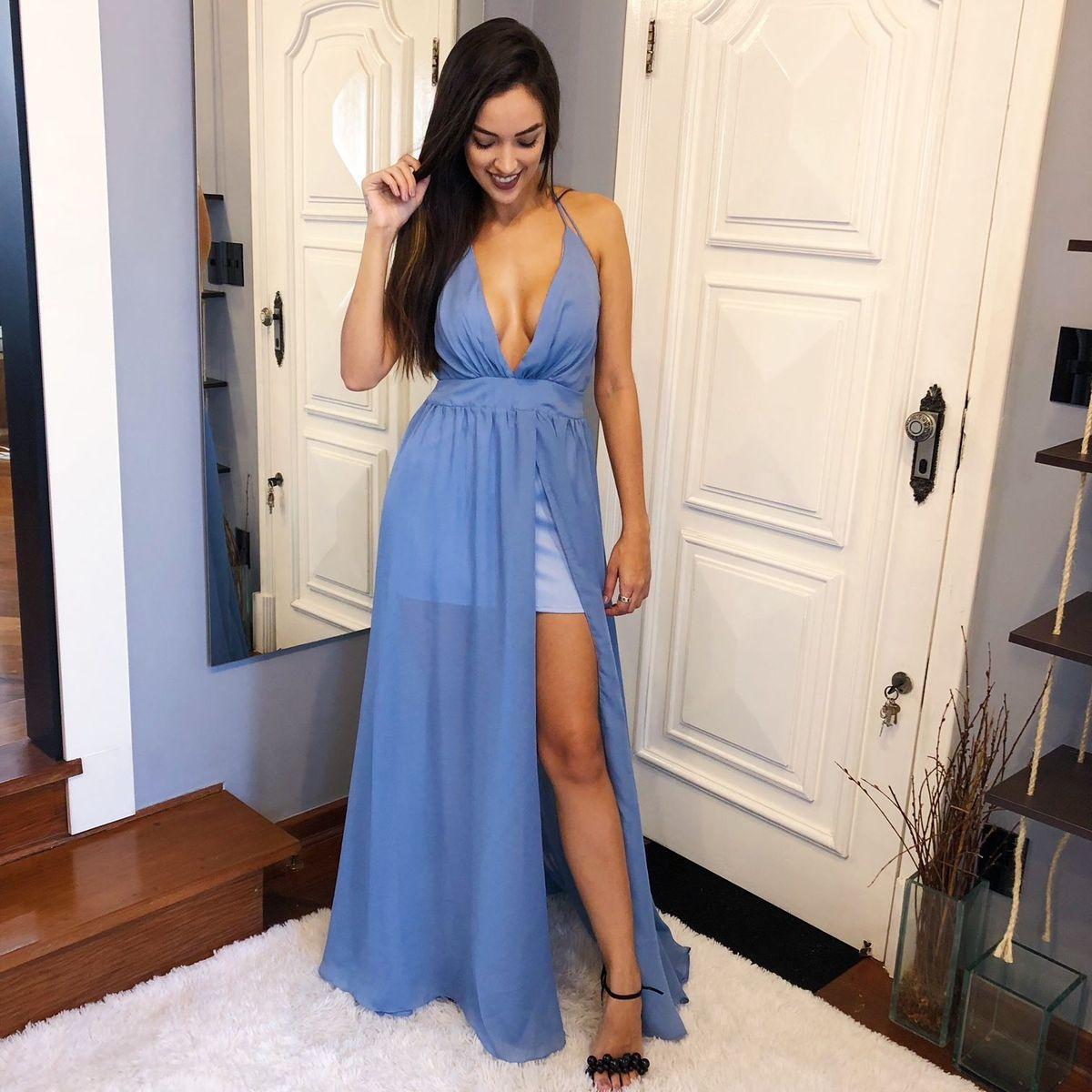 Vestido Festa Azul
