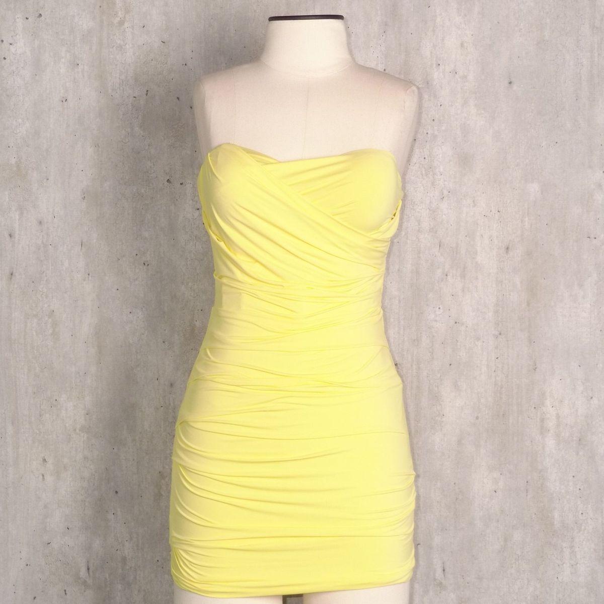 dfcb677651 Vestido Franzido Amarelo