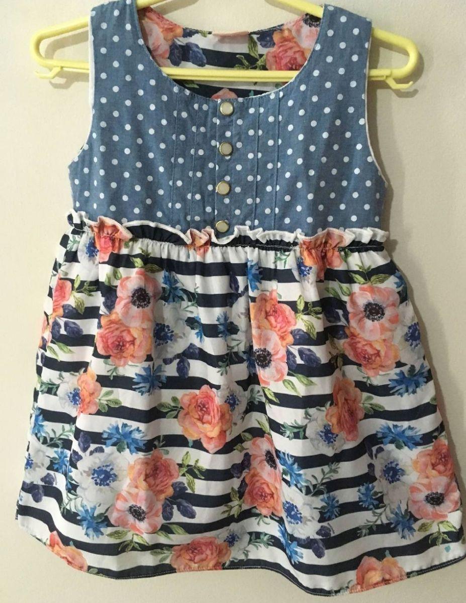vestido infantil floral lindo tropical verão - menina acucena