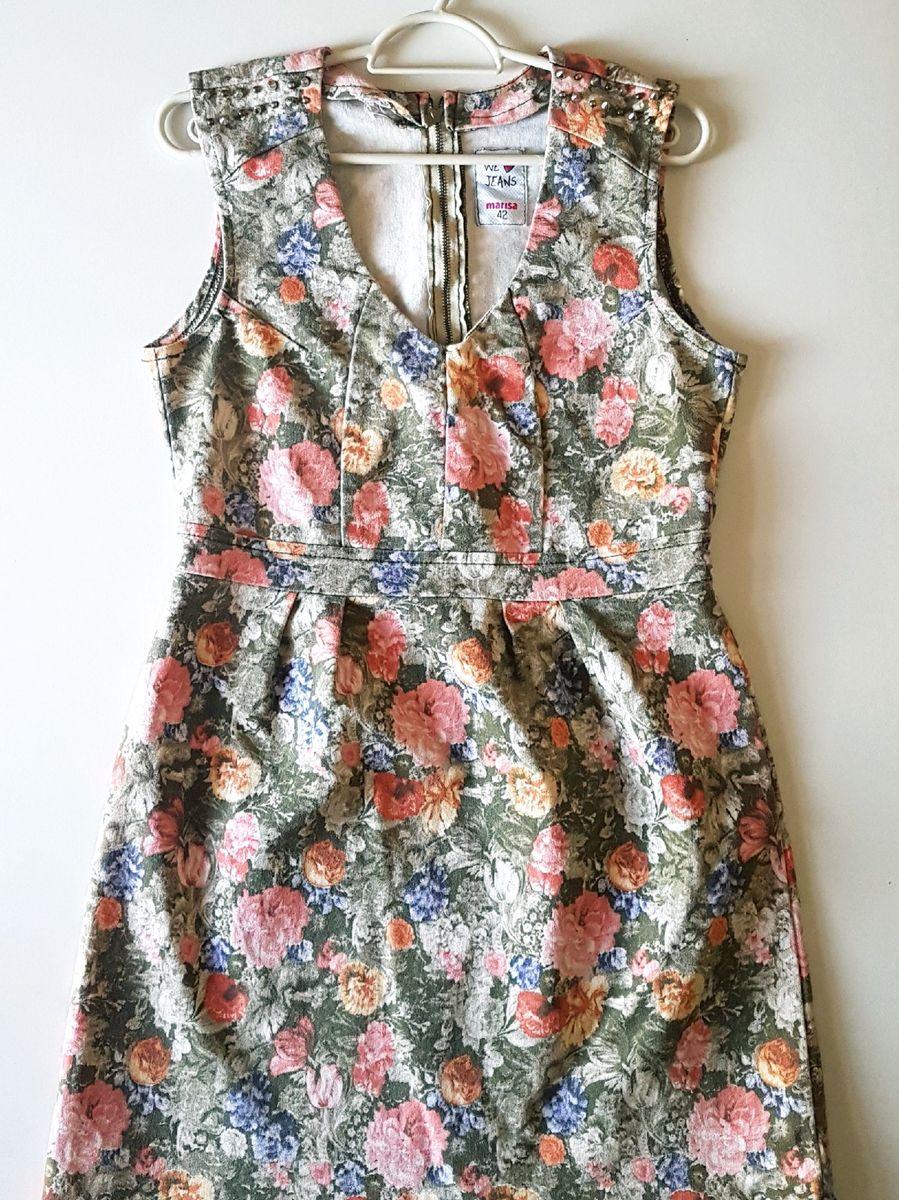 vestido jeans acinturado com estampa floral - vestidos marisa