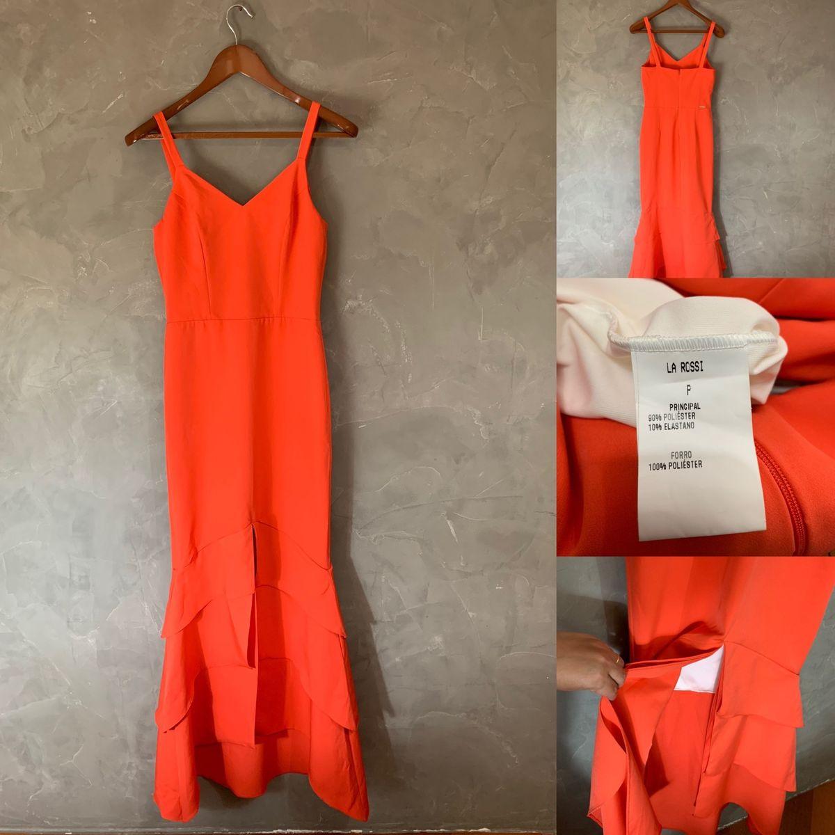 vestido laranja lá rossi p - vestidos lá rossi