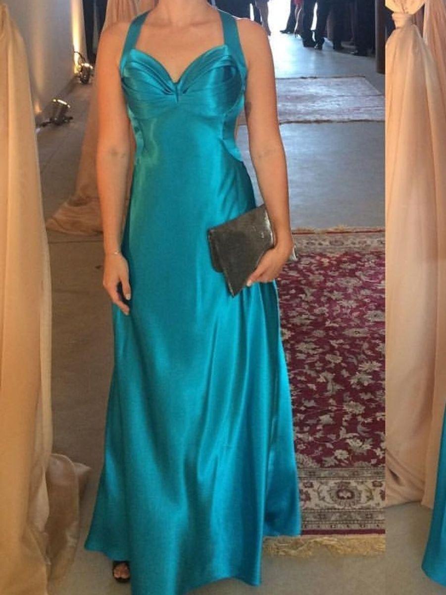 2de2f2e34 vestido longo de festa azul cetim pp arrazo - vestidos de festa arrazo