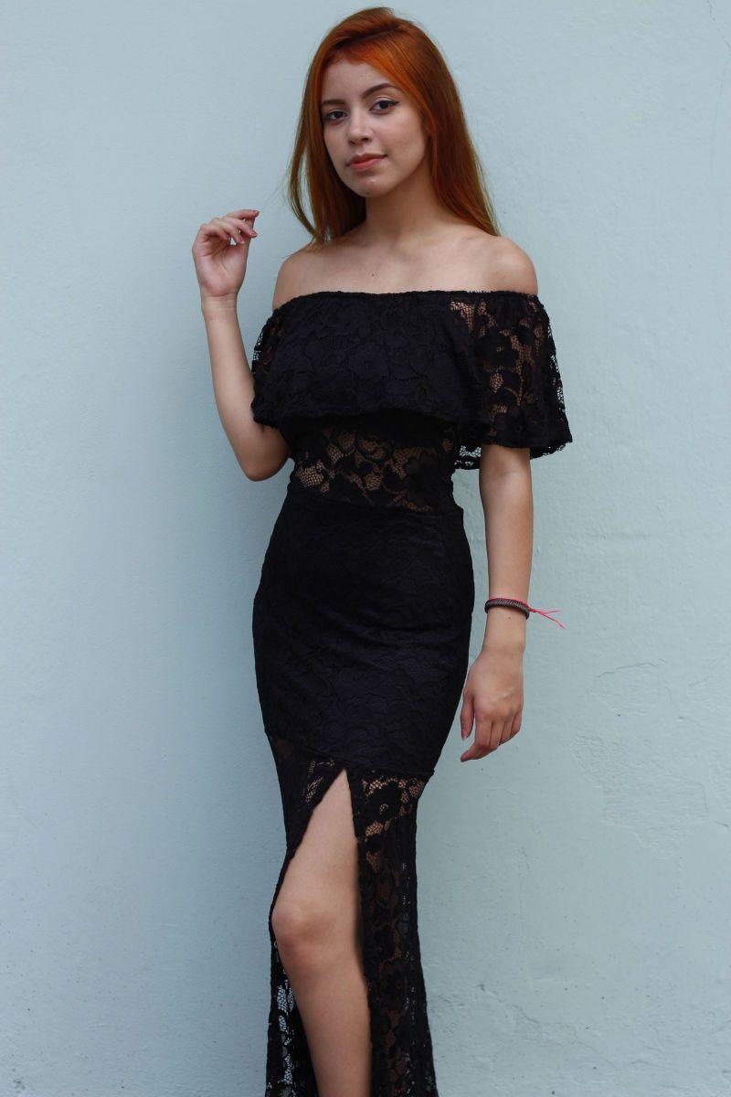 47c49f4894bf vestido longo de renda preto com bojo ciganinha fenda babado - vestidos sem  marca