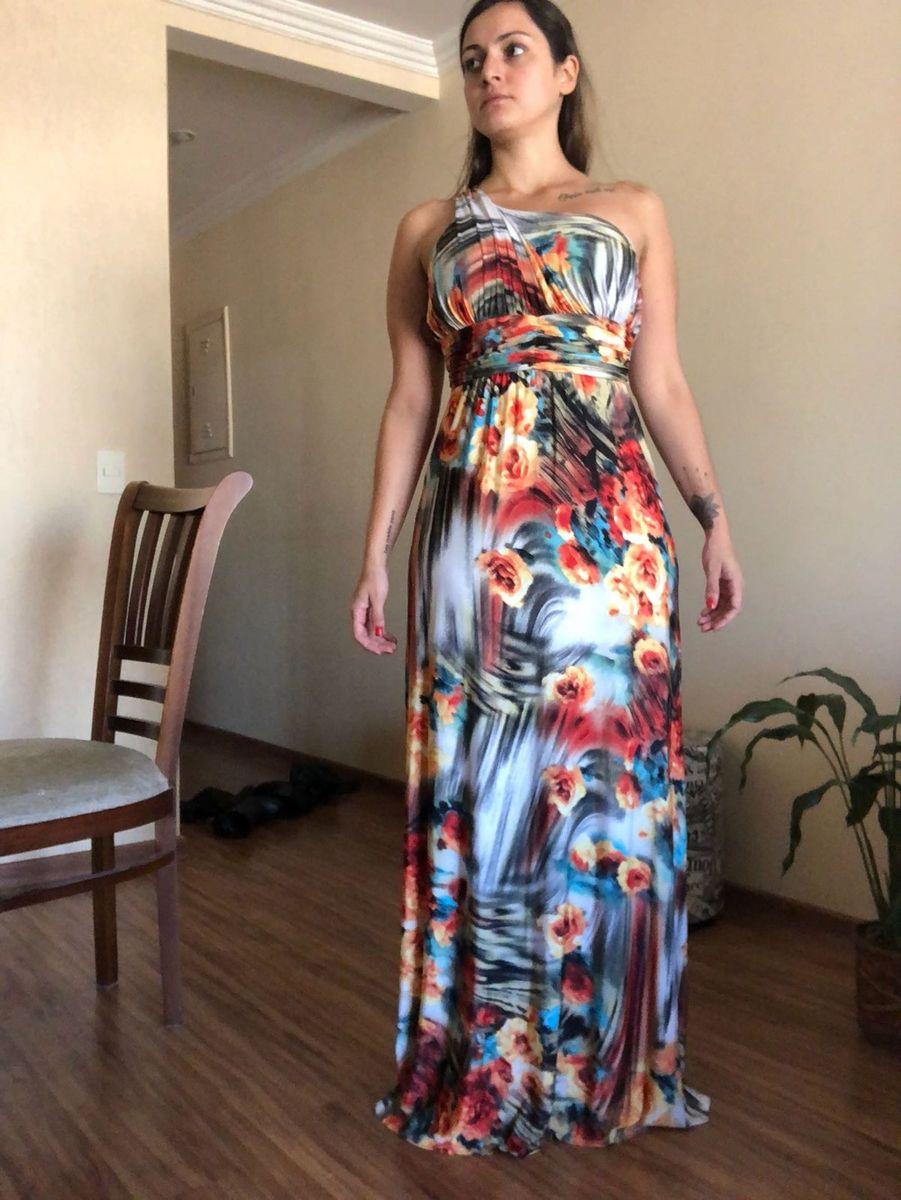 089ac5ce08b4 Vestido Longo de Um Ombro Só Estampado | Vestido Feminino Usado ...