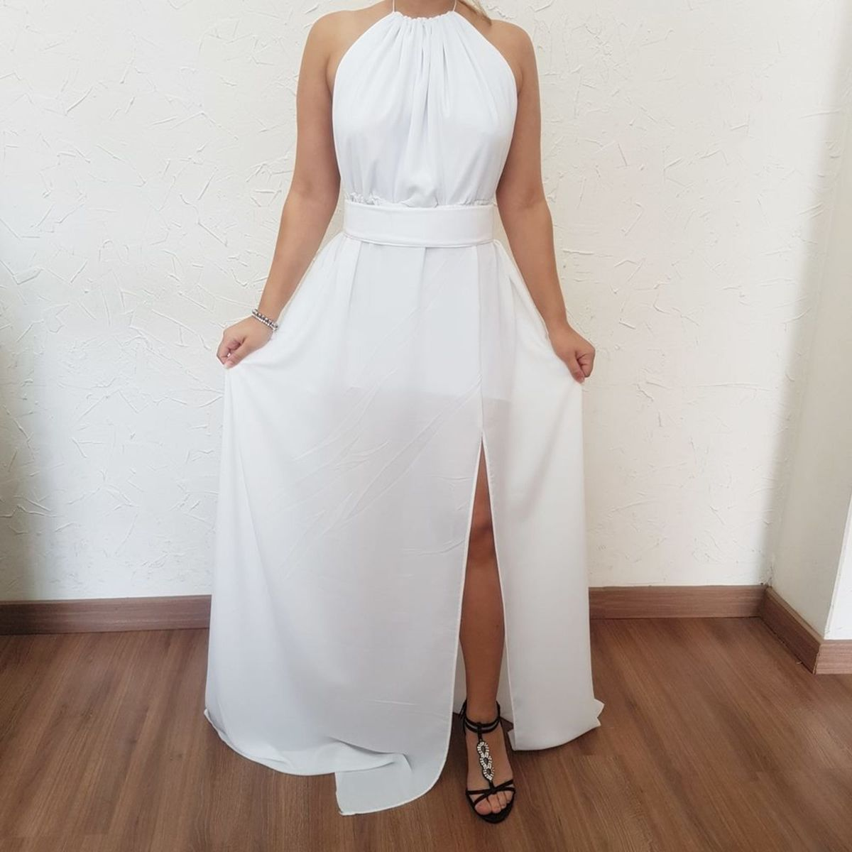 5b04a8850 Vestido Longo Fenda Frente Única Branco | Vestido de Festa Feminino My Way  Store Nunca Usado 26563676 | enjoei