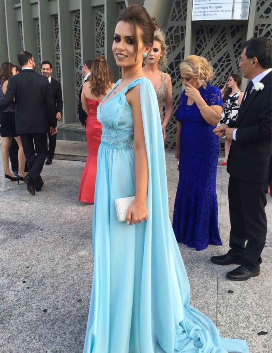 0670937b4e Vestido Longo Festa Azul Pastel