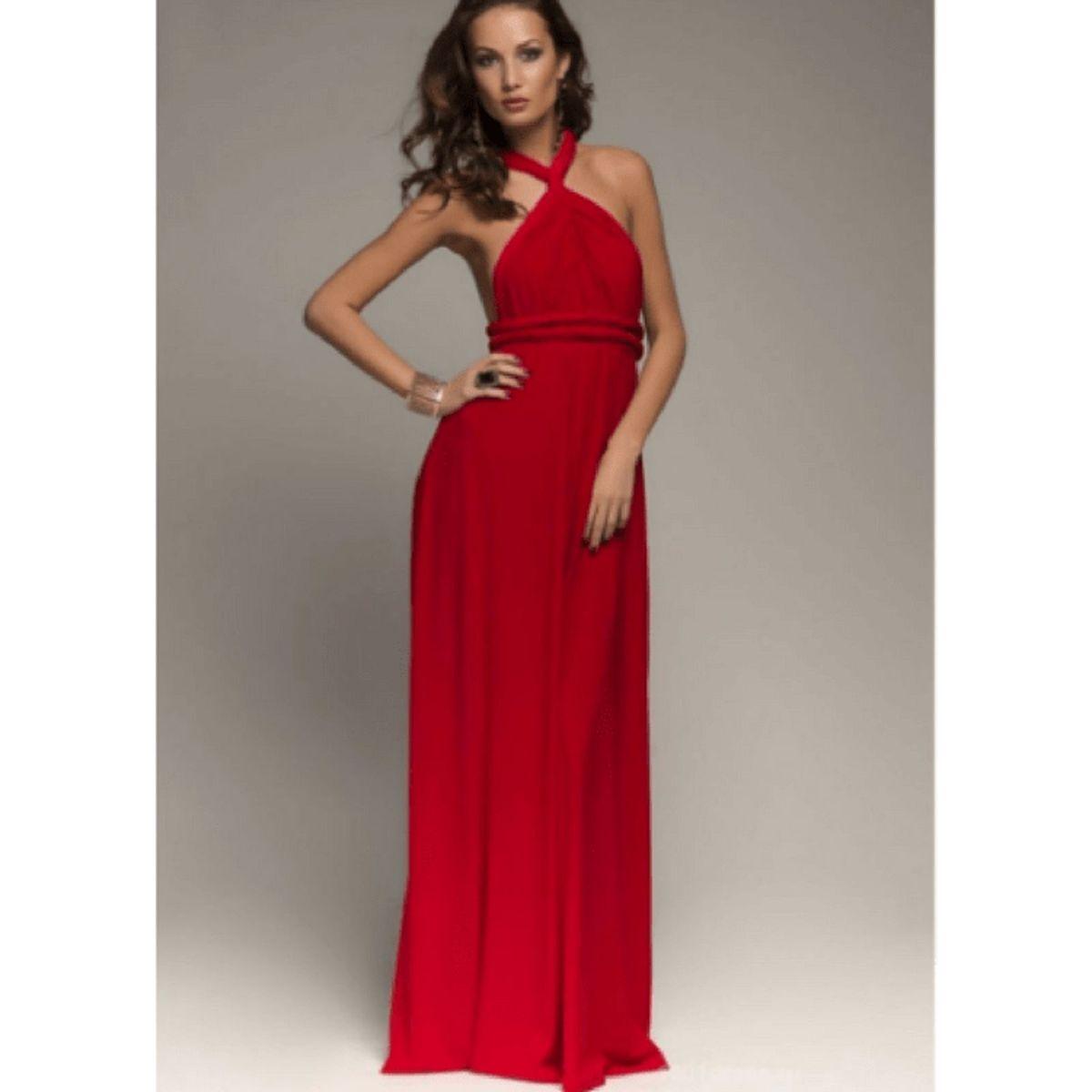 82da68f08 vestido longo festa madrinha rodado diversos modelos vermelho claro - vestidos  sem marca