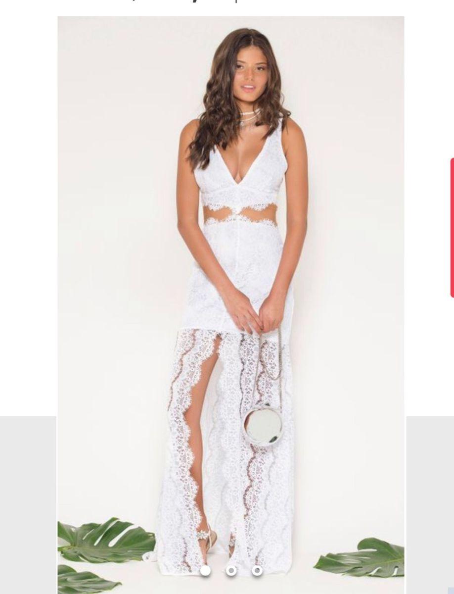 6ee261dec Vestido Longo Renda Tule Nunca Usado | Vestido de Festa Feminino ...