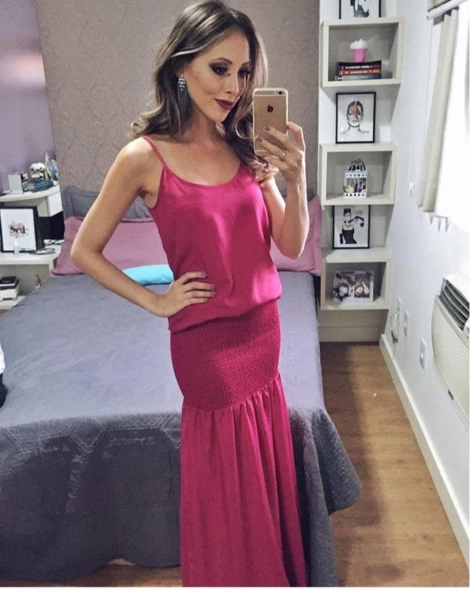 vestido longo rosa pink - vestidos de festa sem marca