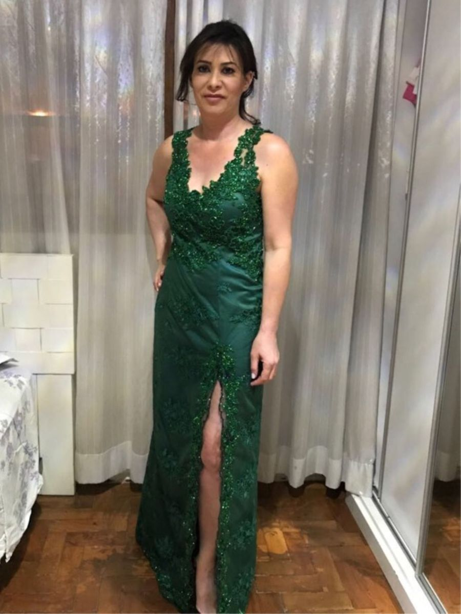 de34f81e5 Vestido Longo Verde com Fenda Bordado | Vestido de Festa Feminino ...