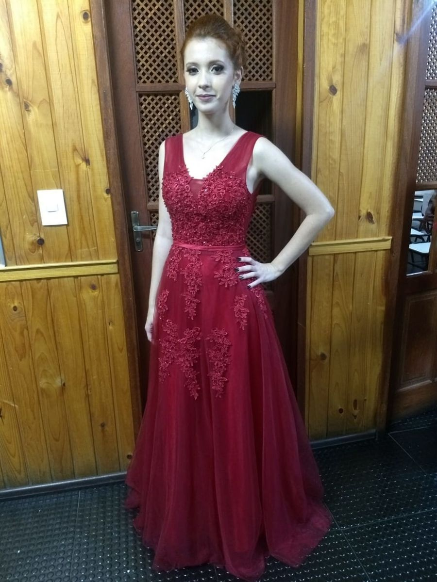 Vestido Longo Vermelho Vinho Marsala