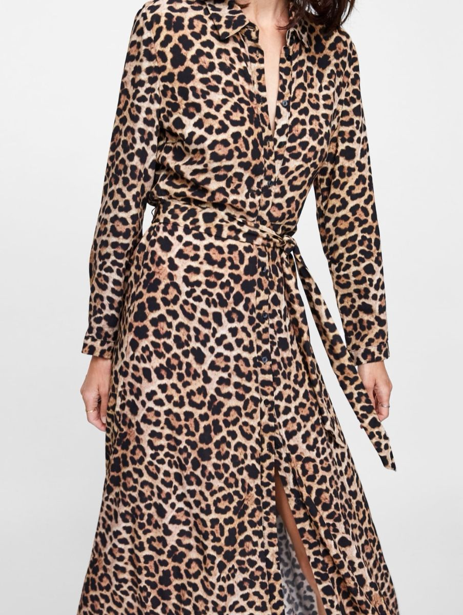vestido longo zara esgotado animal print oncinha chemise shirtdress must have xl - vestidos zara