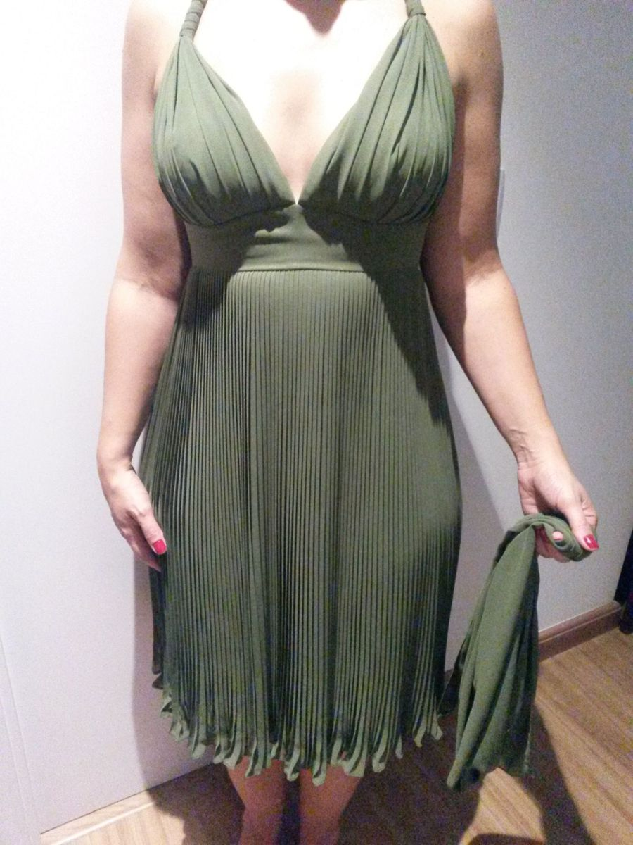 Vestido midi verde musgo