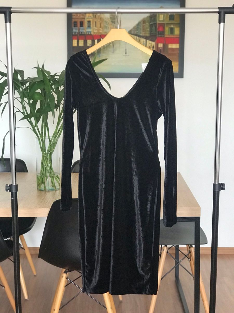 vestido midi veludo - vestidos sem-marca