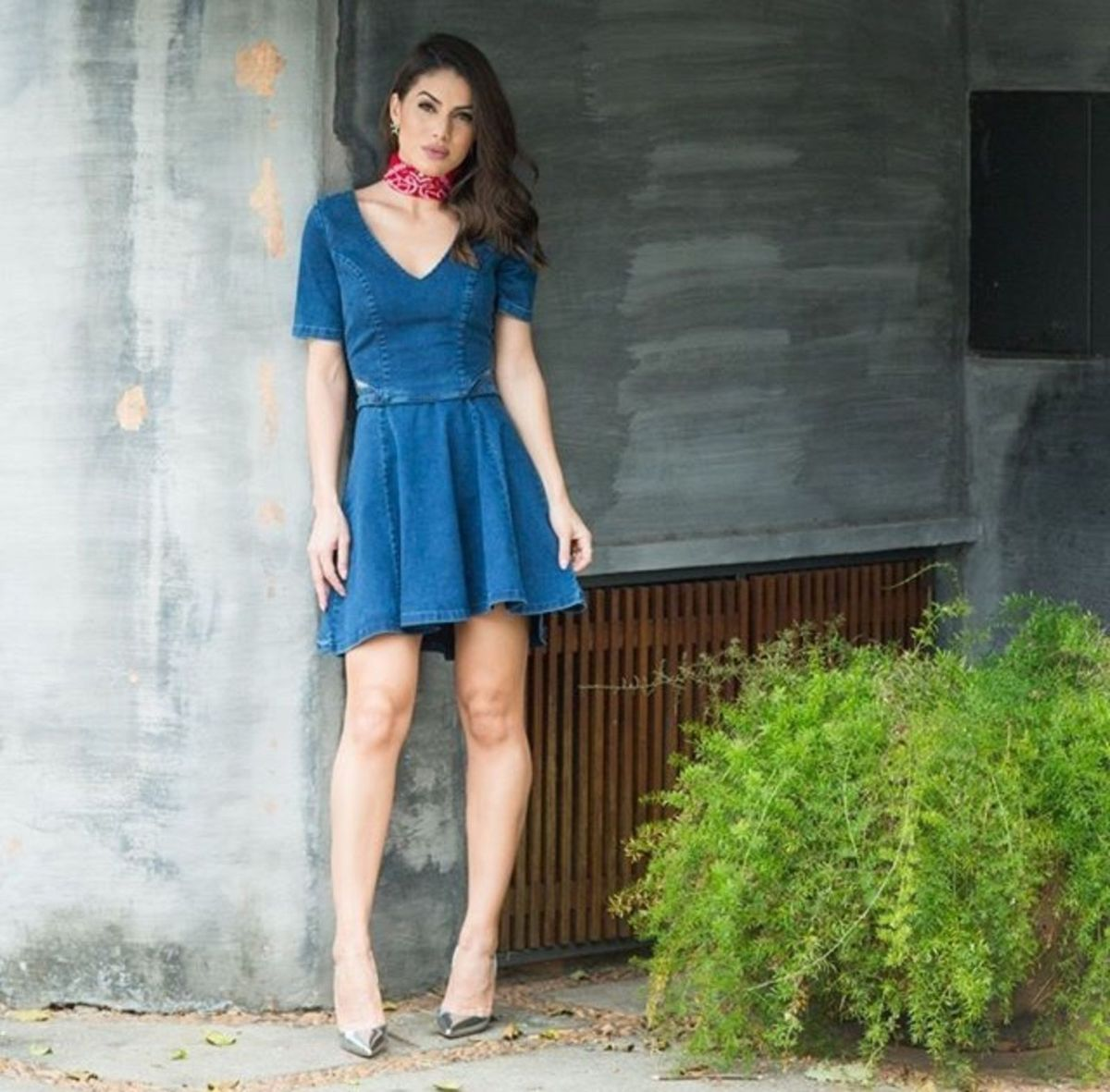 aa2c0f155 Vestido Mini Fit Flare Jeans Damyller   Vestido Feminino Damyller ...