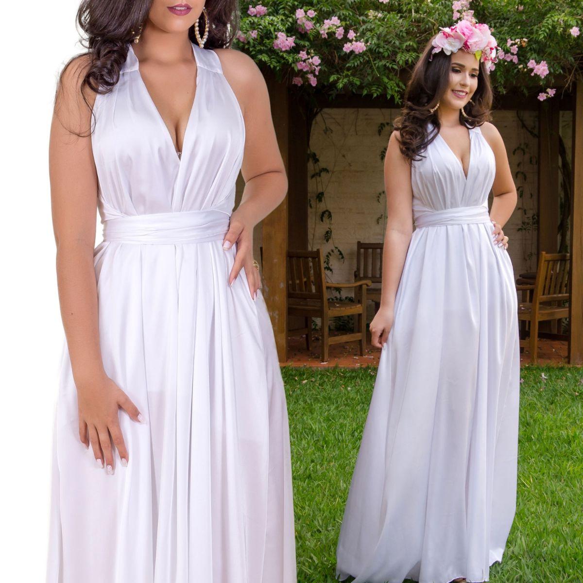 129dec475f7c Vestido Noiva Liso Pre Wedding, Casamento Civil Ou Campo Ou Praia, Vestido  Noiva Luxo   Roupa de Casamento Feminina Midora Fashion Nunca Usado  30728949   ...