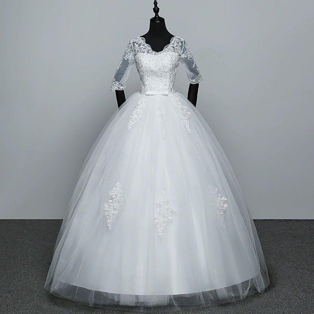 a7e2a446e Vestido Noiva Princesa Rodado Renda Bordado | Vestido Feminino ...