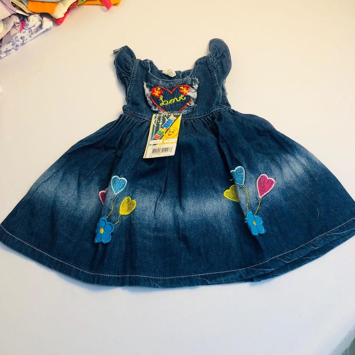 vestido novo infantil jeans - menina blackout