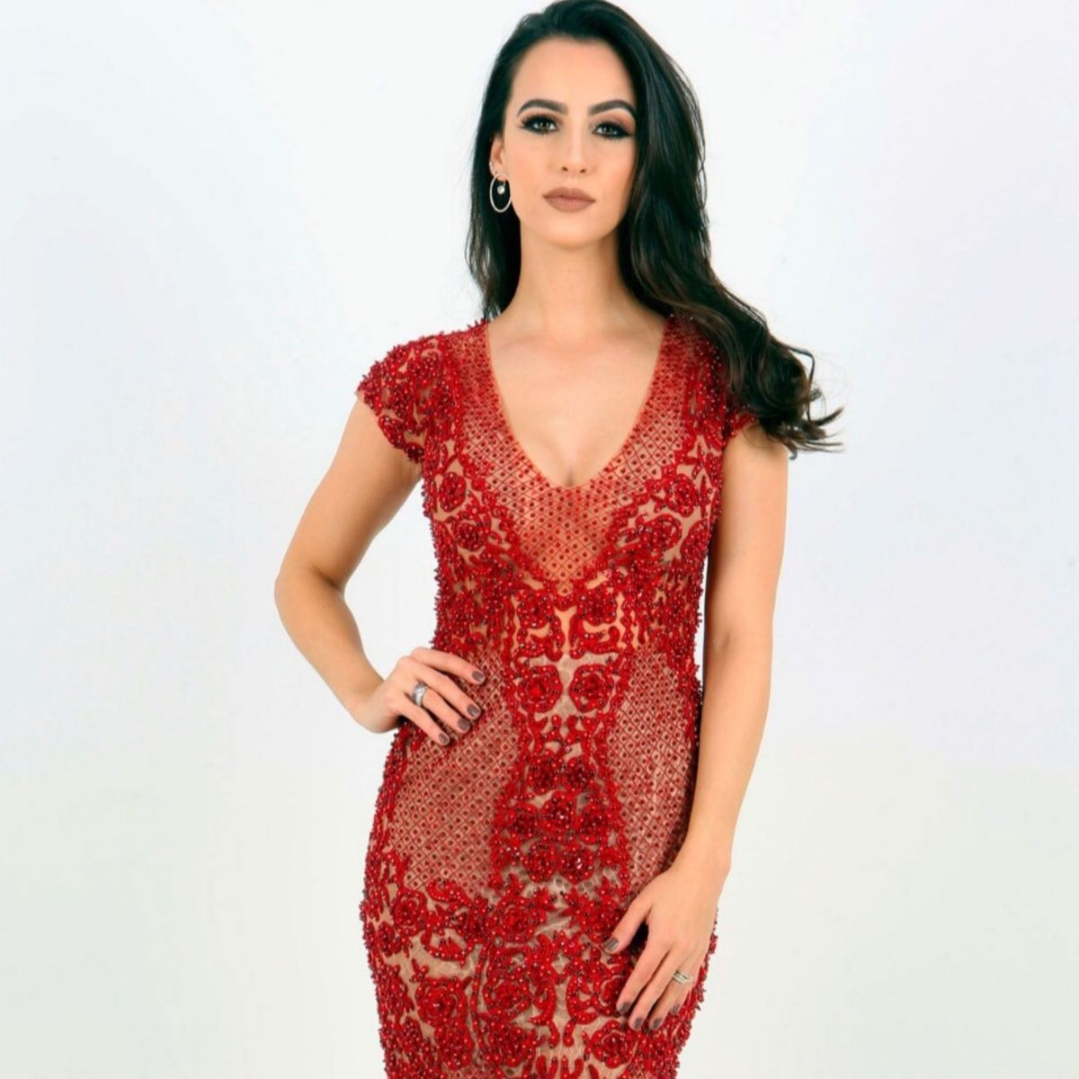 ca790535a6 Vestido Patrícia Bonaldi Patbo Pat Bo Vermelho Curto Bordado Marsala  Pedraria Renda