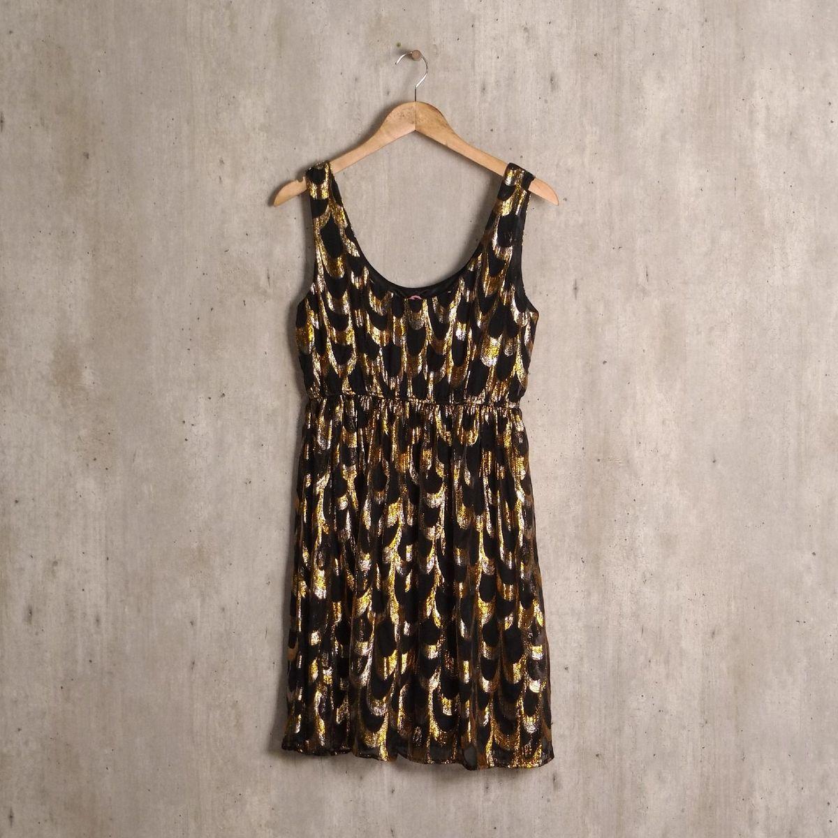vestido preto e dourado h&m - vestidos h&m