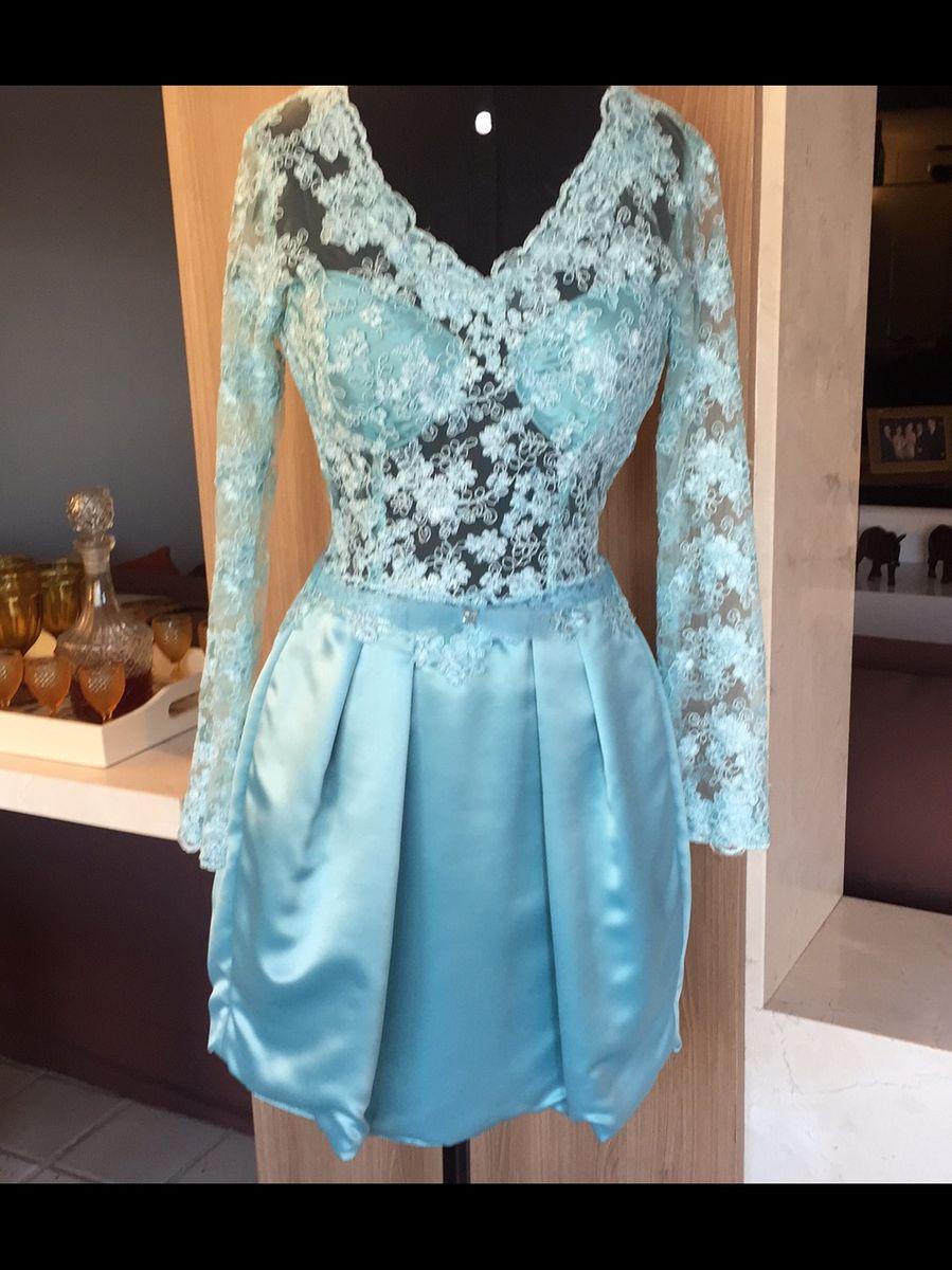 5cda7afe1 Vestido Renda e Cetim de Seda Azul | Roupa de Casamento Feminina ...