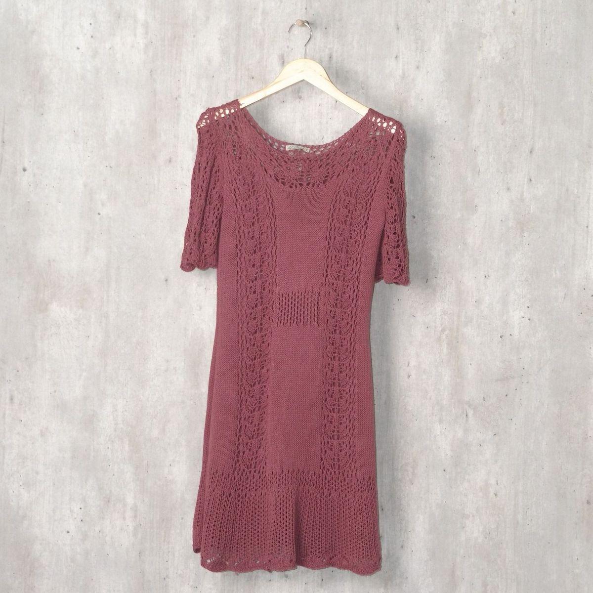 d02f7ace5 Vestido Roxo de Tricô