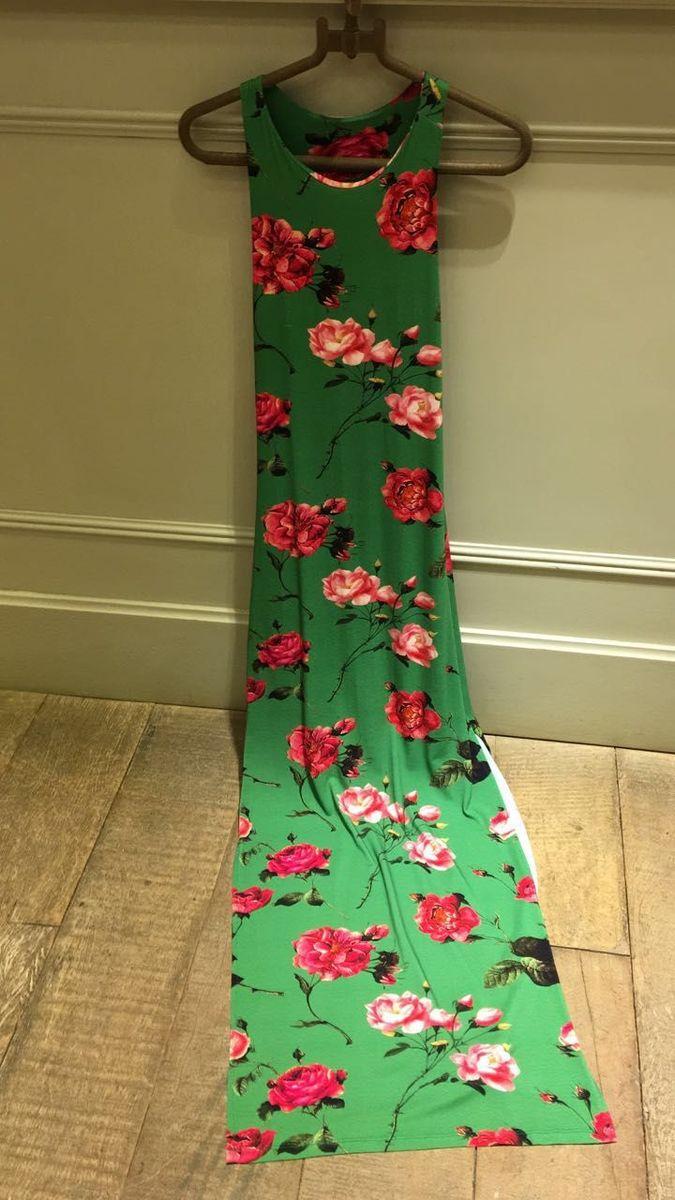 vestido tigresse longo verde floral novo - vestidos tigresse