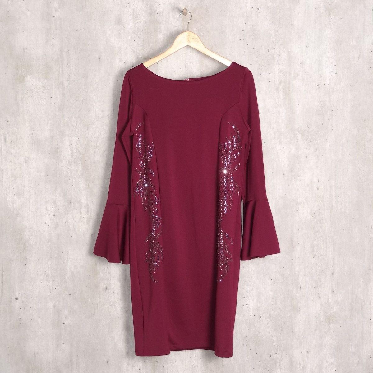 db5c2fe36cf4 Vestido Vinho Strass Plus Size | Vestido de Festa Feminino Edi Almeida  Nunca Usado 32964979 | enjoei